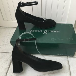 Paul Green Holly Heel Black Suede Women's Pumps